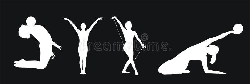 samlingsgymnastik stock illustrationer