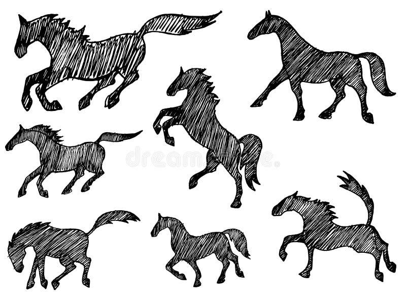 samlingshästsilhouettes stock illustrationer