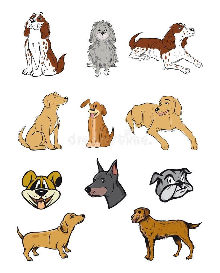 samlingshundar royaltyfri illustrationer