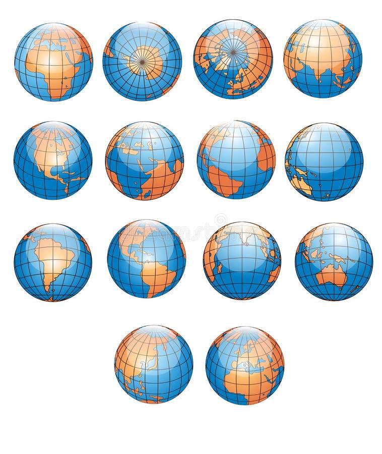 samlingsjordklotvärld vektor illustrationer