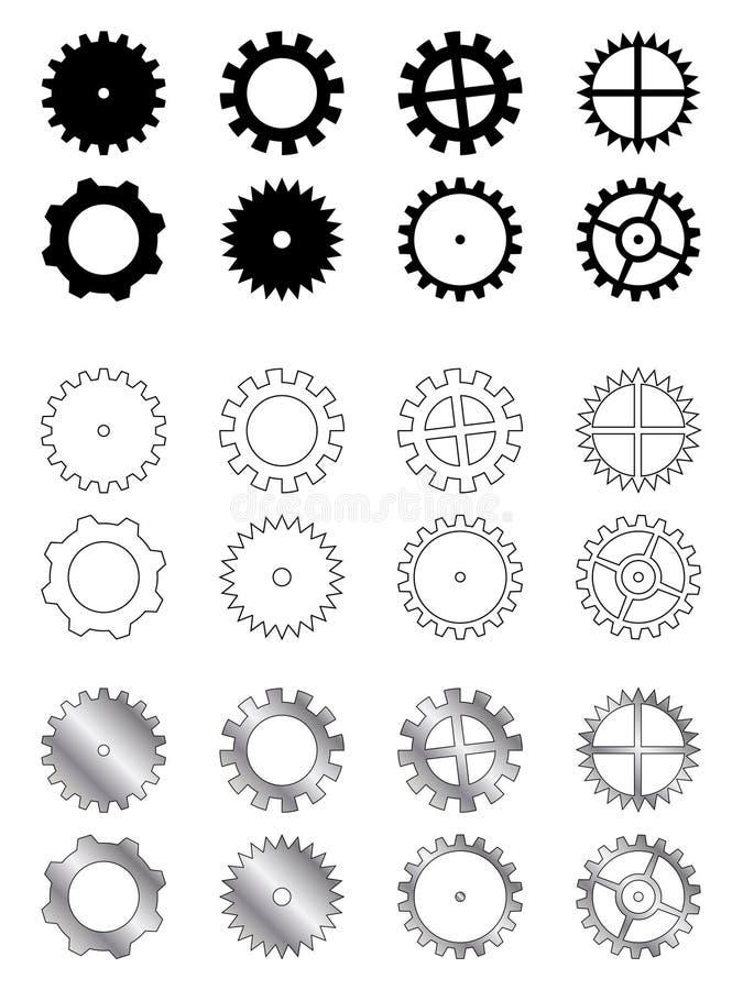 samlingskugghjul royaltyfri illustrationer