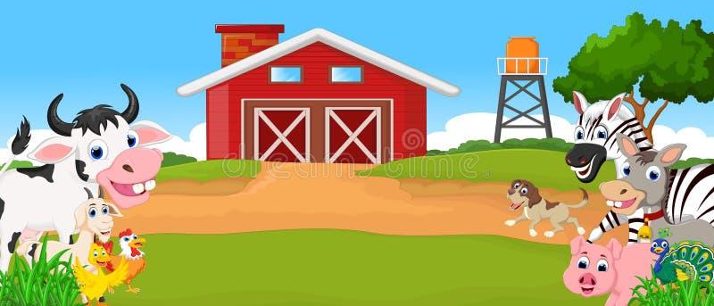 Samlingslantgårddjur med lantgårdbakgrund vektor illustrationer