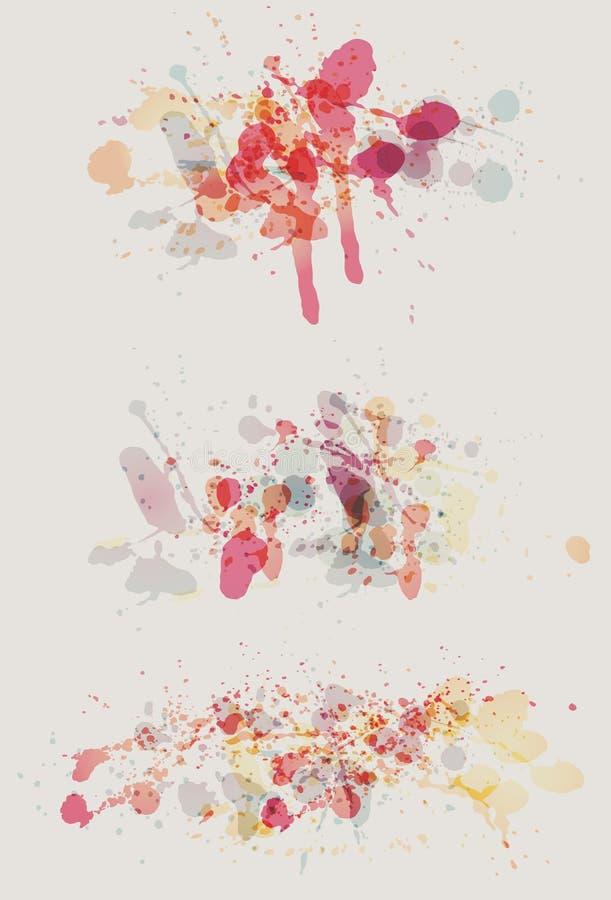 samlingsmålarfärg splatters vattenfärg royaltyfri illustrationer