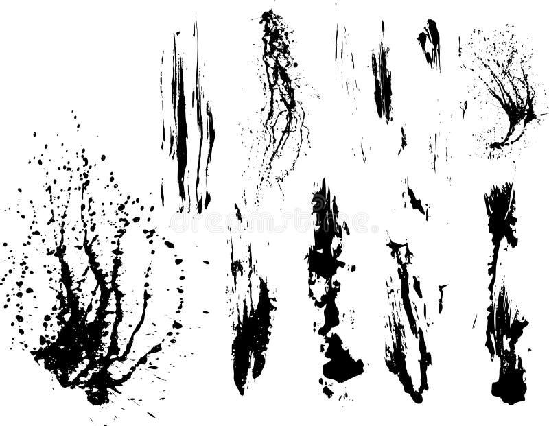 samlingsmålarfärg splatters vektorn stock illustrationer