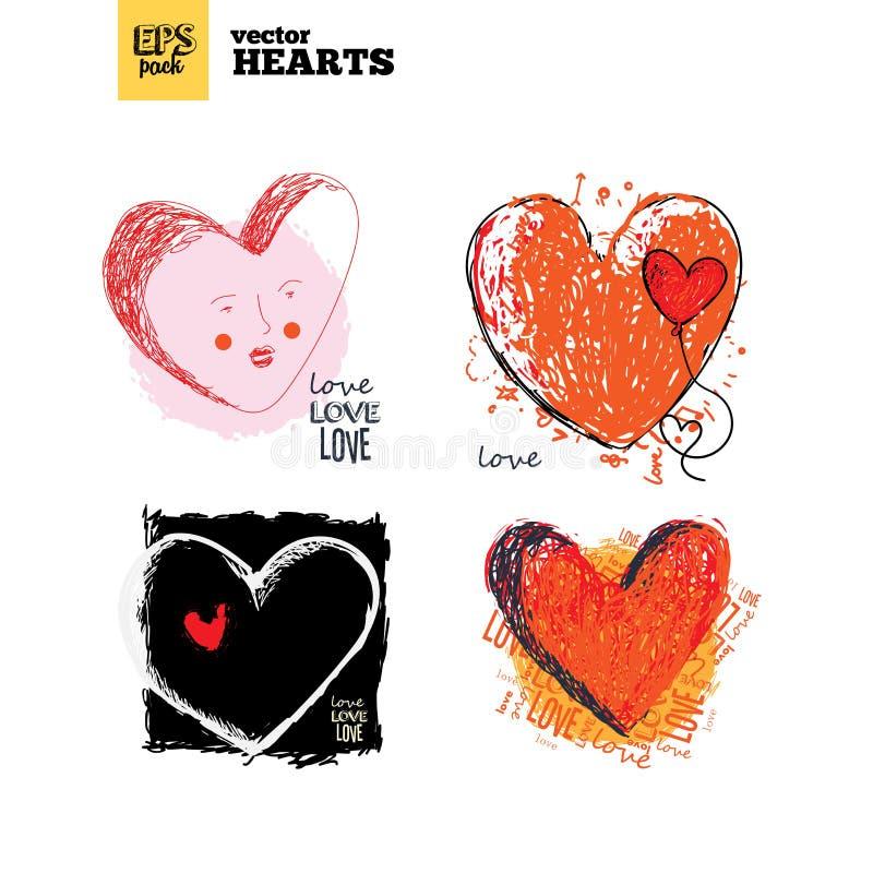 Samlingspacke av hjärtor royaltyfri illustrationer