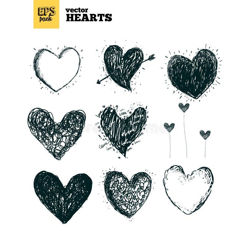 Samlingspacke av hjärtor vektor illustrationer