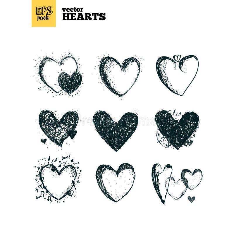 Samlingspacke av hjärtor stock illustrationer