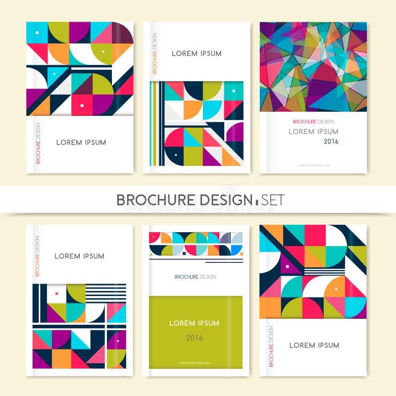 Samlingsräkningsdesign för broschyrbroschyrreklamblad geometrisk abstrakt bakgrund stock illustrationer