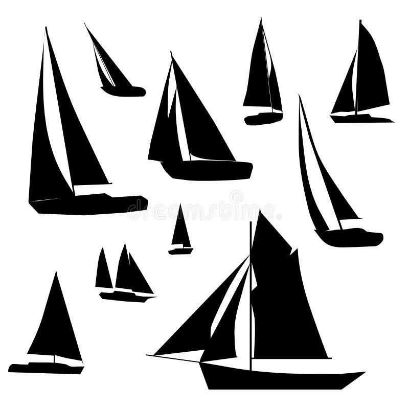 samlingssegelbåt royaltyfri illustrationer