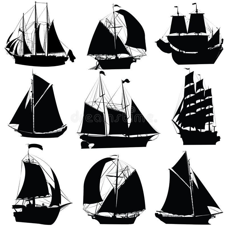 samlingsseglingships vektor illustrationer