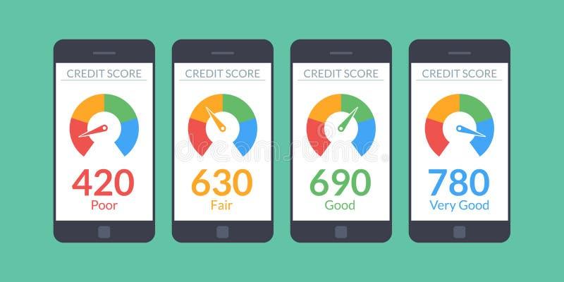 Samlingssmartphones med krediteringsställningen app på skärmen i plan stil Finansiell information om klienten vektor stock illustrationer