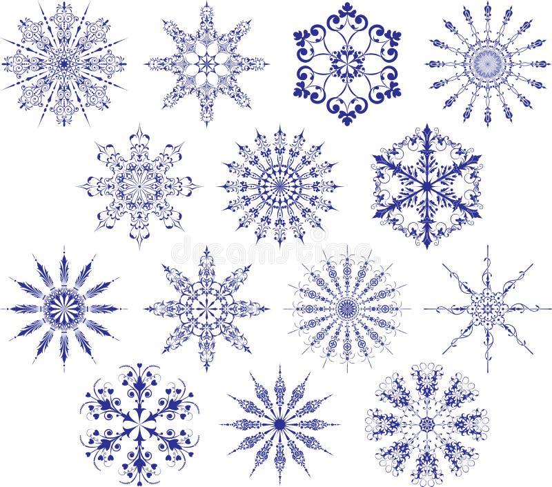 samlingssnowflakesvektor vektor illustrationer
