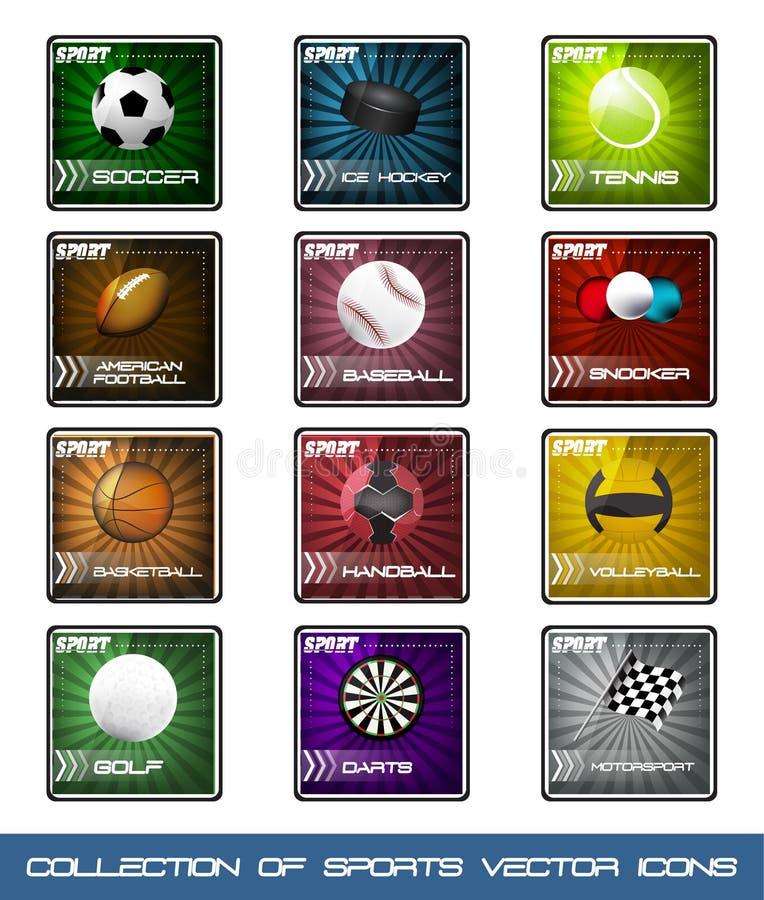 Samlingssymboler av mycket populära sportar vektor illustrationer