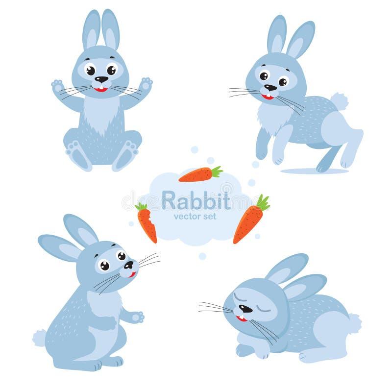 Samlingstecknad filmkanin i olikt poserar Rolig kaninteckenuppsättning stock illustrationer