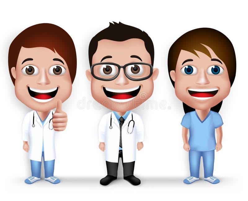 Samlingsuppsättning av den realistiska unga vänliga yrkesmässiga doktorn 3D royaltyfri illustrationer