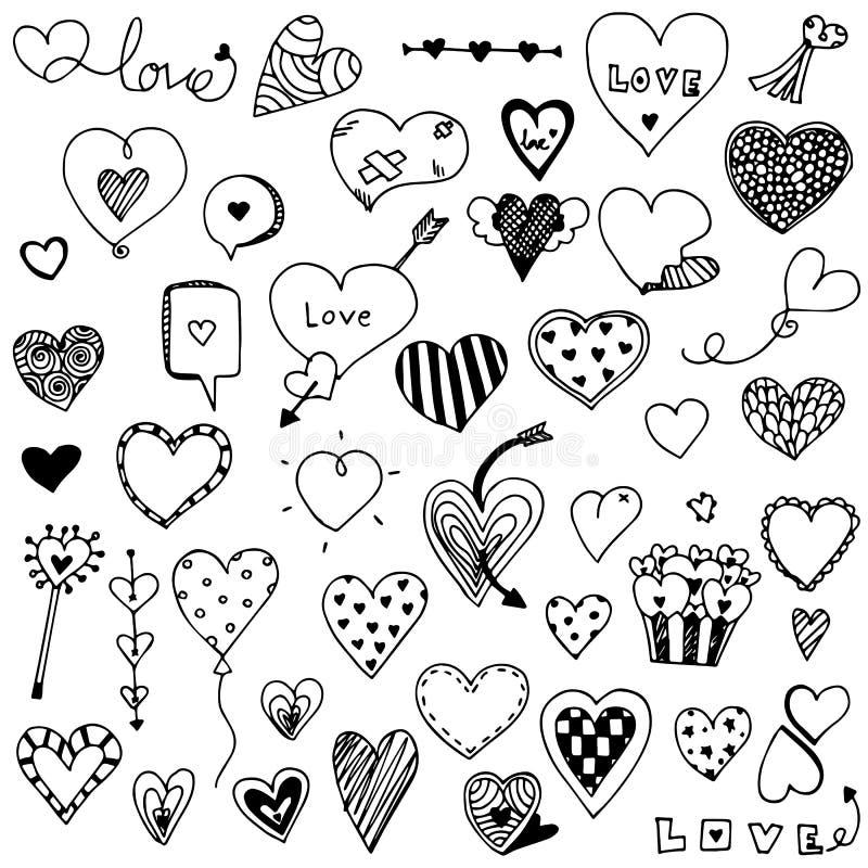 Samlingsuppsättning av hand dragen gullig ` s för hjärtaklottervalentin vektor illustrationer