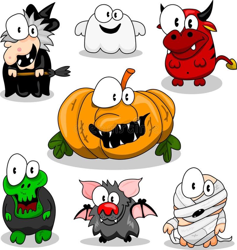 samlingsvarelser halloween stock illustrationer