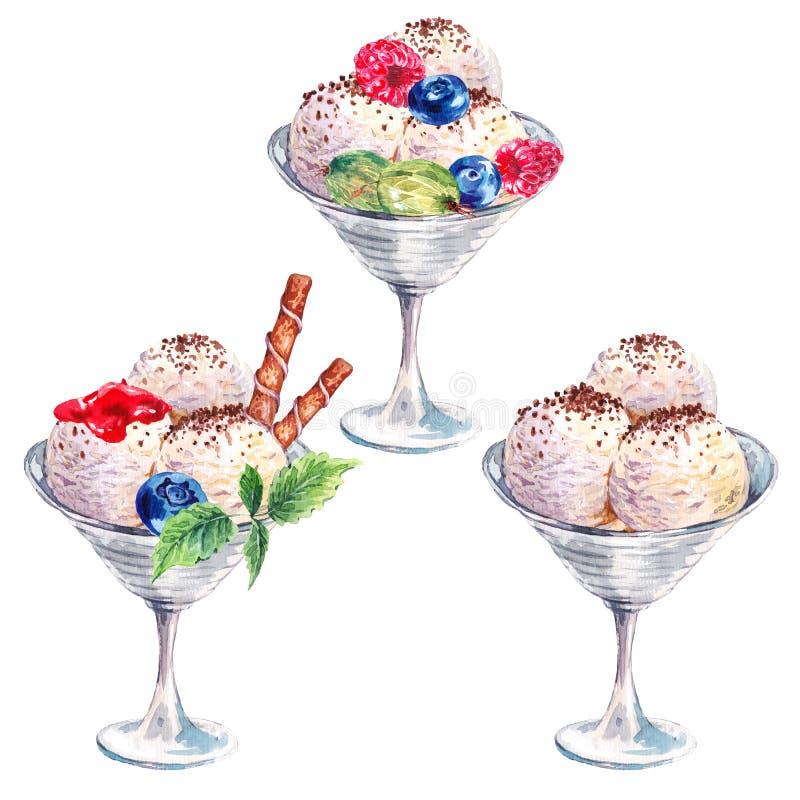 Samlingsvattenfärgbollar av glassglasscoupen med garnering royaltyfria foton
