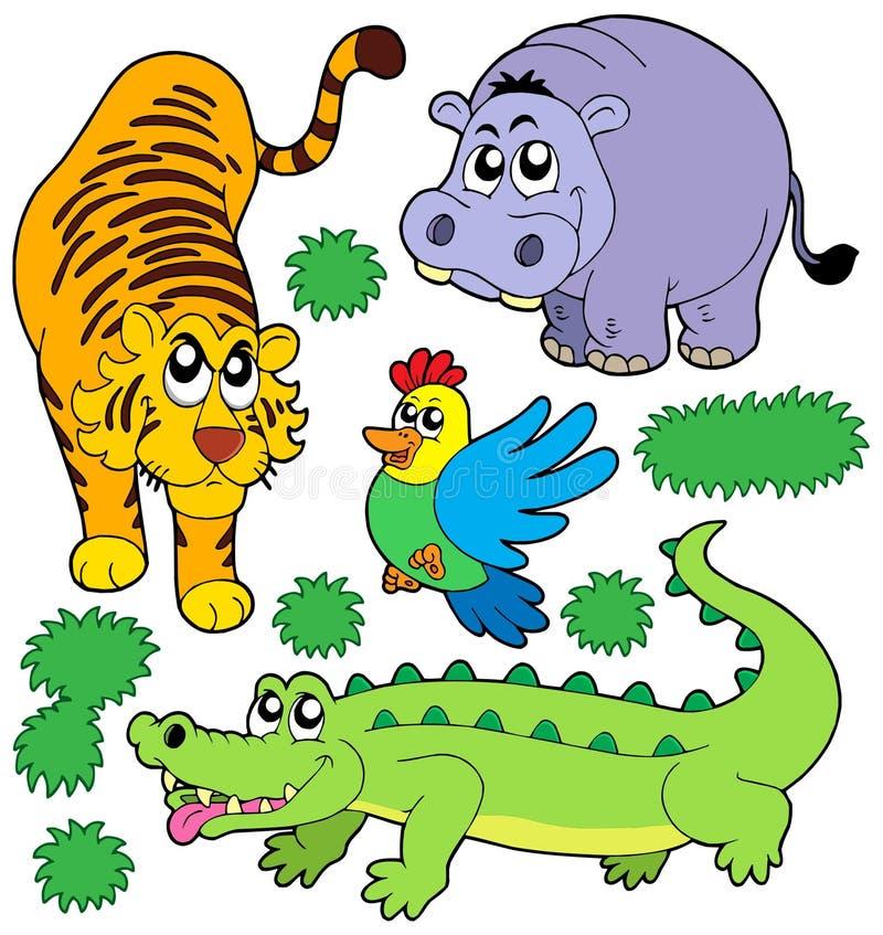 samlingszoo för 5 djur royaltyfri illustrationer