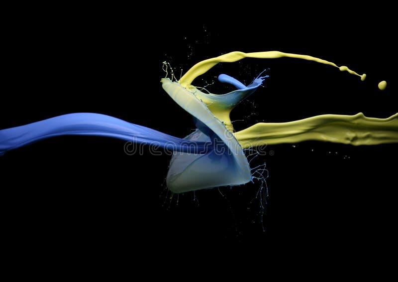 Sammandrabbning av guling- och blåttmålarfärg royaltyfri foto