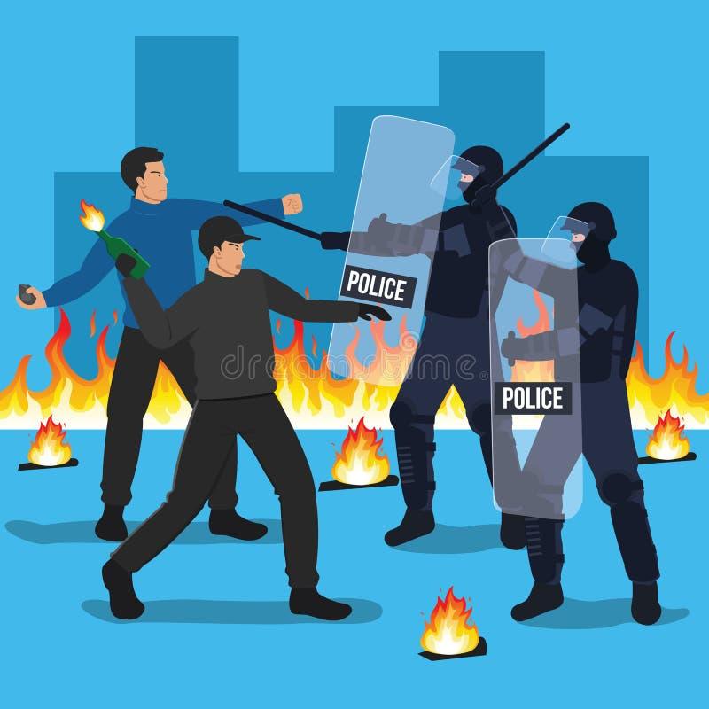 Sammandrabbning för kravallpolistjänstemän med personer som protesterar vektor illustrationer
