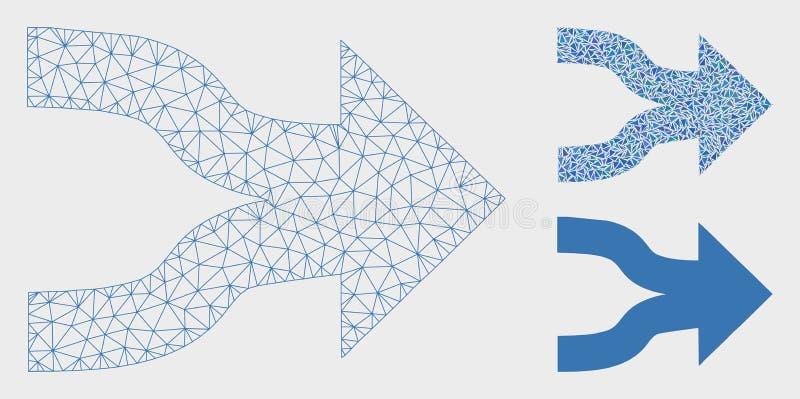 Sammanfoga den 2D modellen för pilvektoringreppet och den mosaiska symbolen för triangel vektor illustrationer