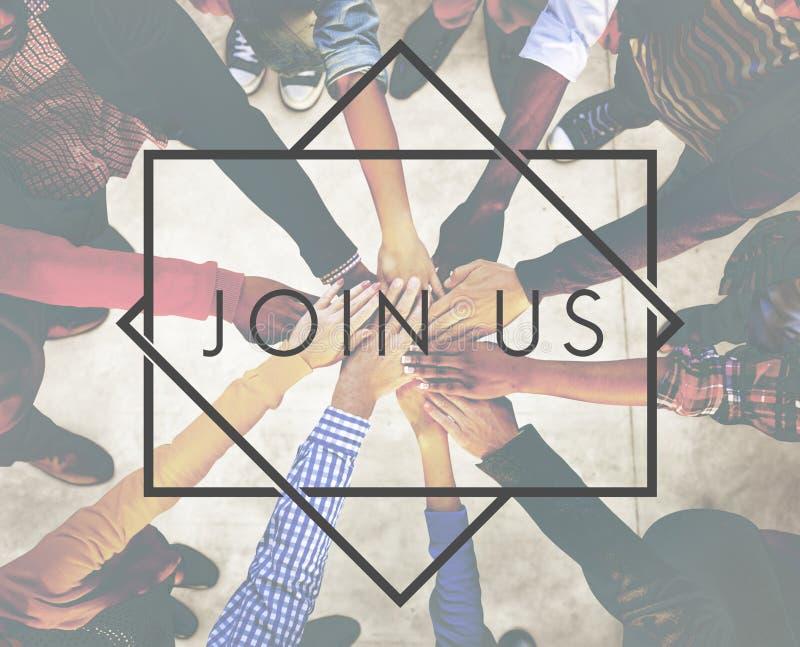 Sammanfoga oss applicerar att hyra medlemskaprekryt Team Concept arkivfoto