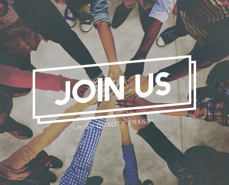 Sammanfoga oss applicerar att hyra medlemskaprekryt Team Concept fotografering för bildbyråer