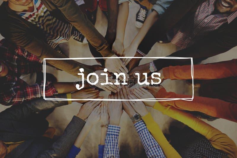 Sammanfoga oss det Team Recruitment Register Membership Hiring begreppet fotografering för bildbyråer