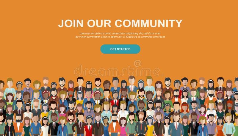 Sammanfoga vår gemenskap Folkmassa av enigt folk som en affär eller idérik gemenskap som tillsammans står Plan begreppsvektor vektor illustrationer