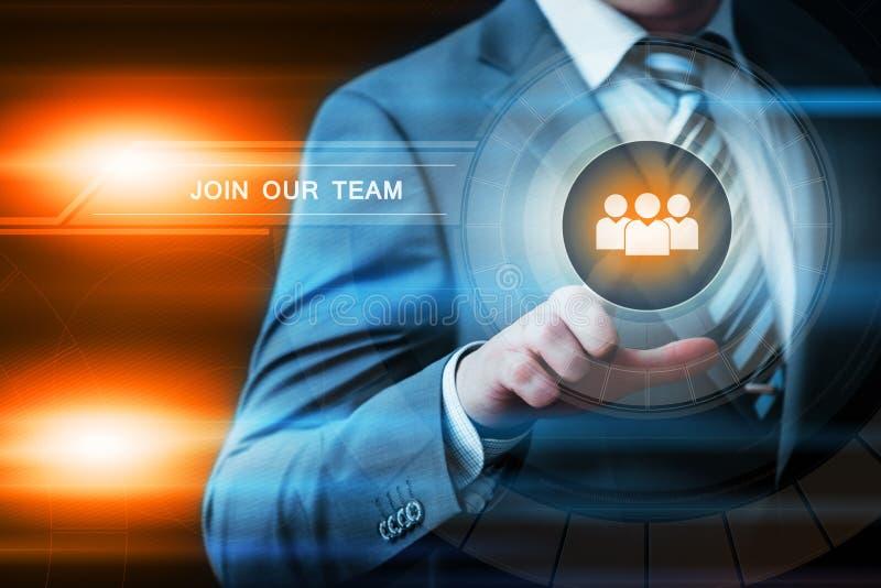 Sammanfoga vårt begrepp för den Team Job Search Career Recruitment Hiring affärsinternet arkivbild