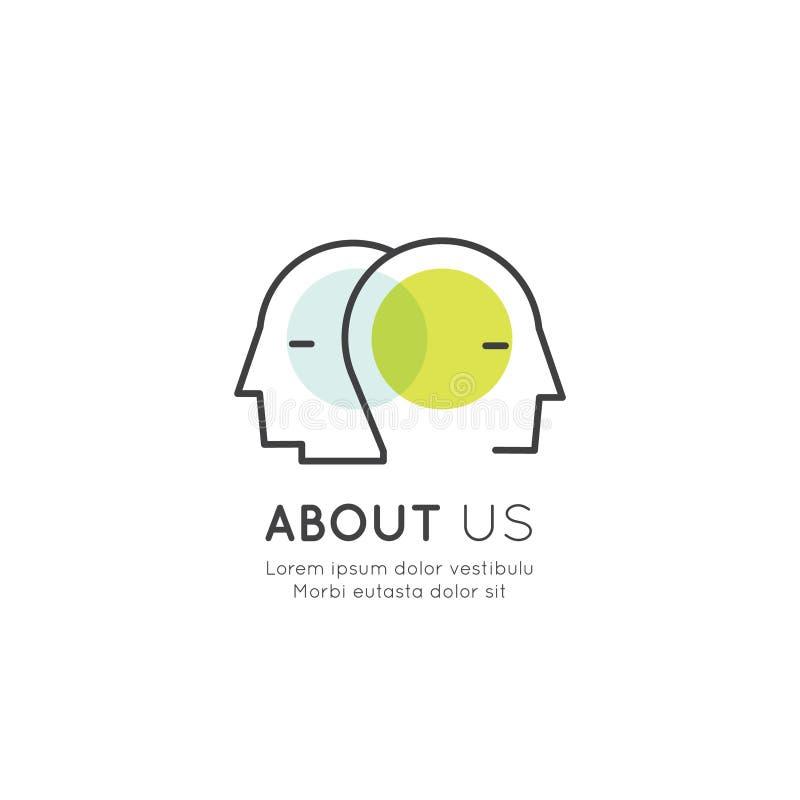 Sammanfoga vårt lag, den Bio sammanlänkningen, informationssidan, folkprofil, om oss royaltyfri illustrationer