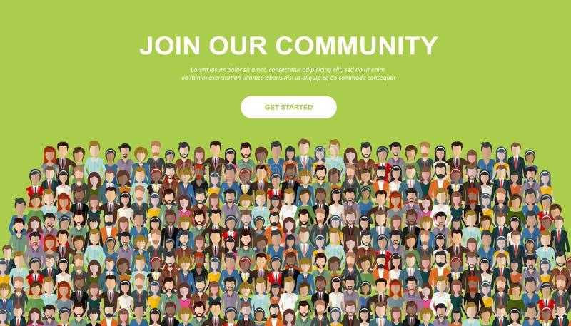 Sammanfoga v?r gemenskap Folkmassa av enigt folk som en aff?r eller id?rik gemenskap som tillsammans st?r Plana vikarier f?r begr vektor illustrationer