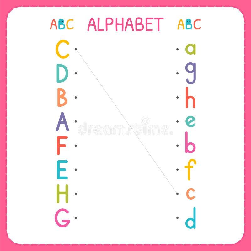 Sammanfoga varje versal med lilla bokstaven Från A till H Arbetssedel för dagis och förträning Övningar för barn stock illustrationer