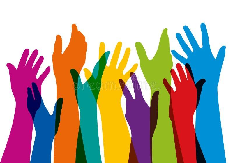 Sammanhangsymbol med många lyftta händer av olika färger stock illustrationer