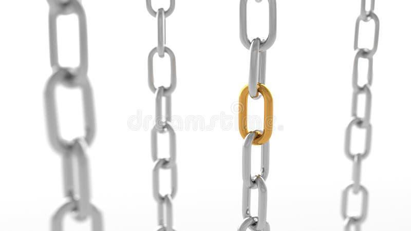 sammankoppliner guldsilver vektor illustrationer