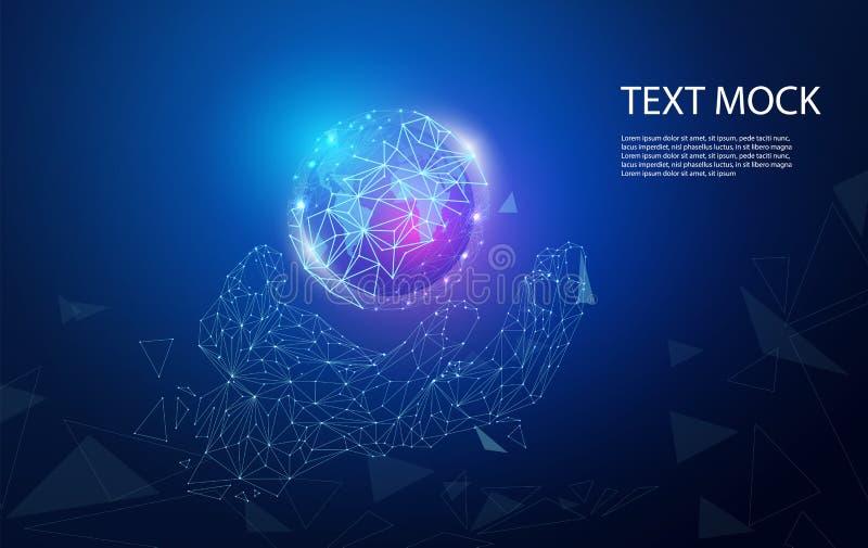 Sammanlänkning och värld för abstrakt teknologibegreppshand digital på bakgrund för hög tech stock illustrationer