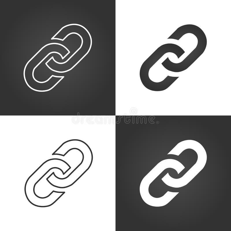 Sammanlänkningssymbolsuppsättning Chain symbol för Hyperlink enkel symbol Isolerad vektorillustration royaltyfri illustrationer