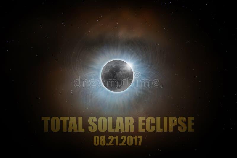 Sammanlagd Augusti 21st för sol- förmörkelse text 2017 royaltyfri illustrationer