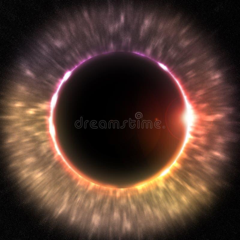 Sammanlagd förmörkelse av solen vektor illustrationer
