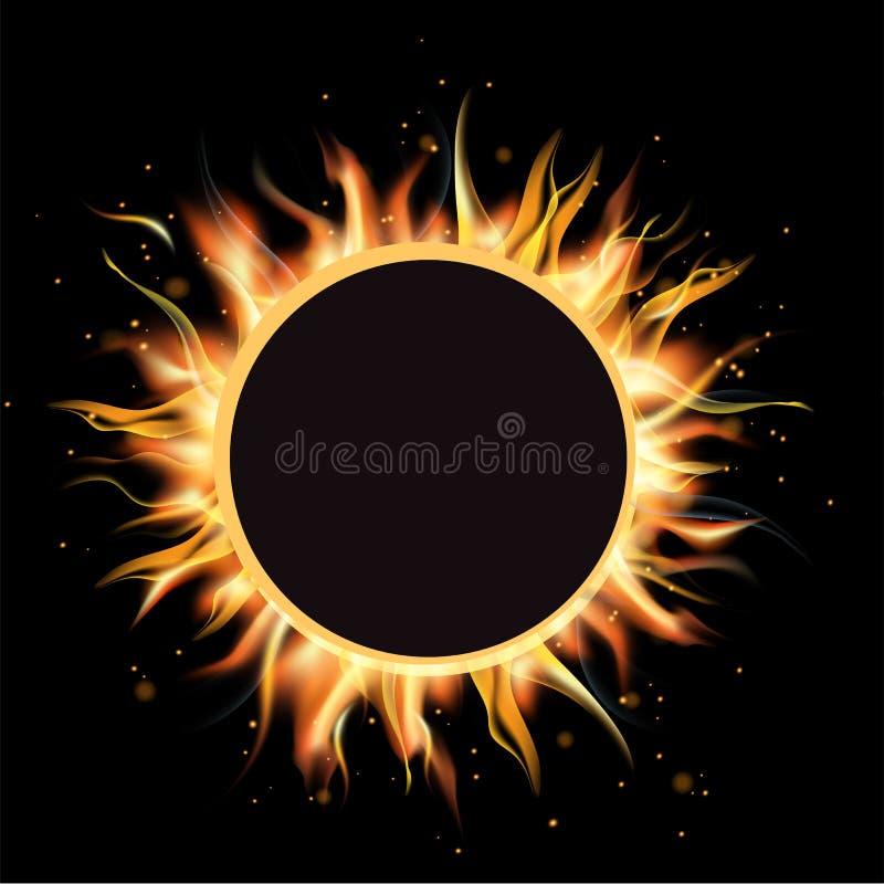 Sammanlagd förmörkelse av solen, förmörkelsebakgrund, vektorillustration royaltyfri illustrationer