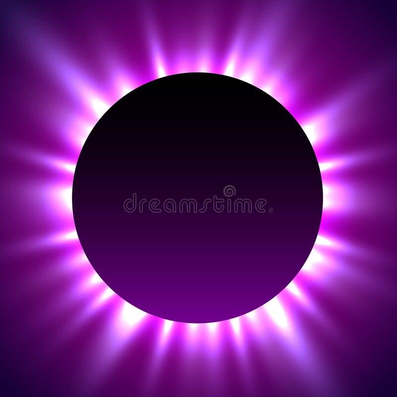 Sammanlagd förmörkelse av solen förmörkelsemagibakgrund royaltyfri illustrationer