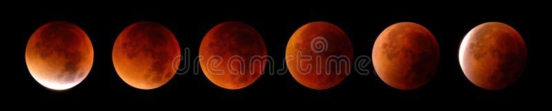 Sammanlagd månförmörkelse i 6 etapper royaltyfri bild