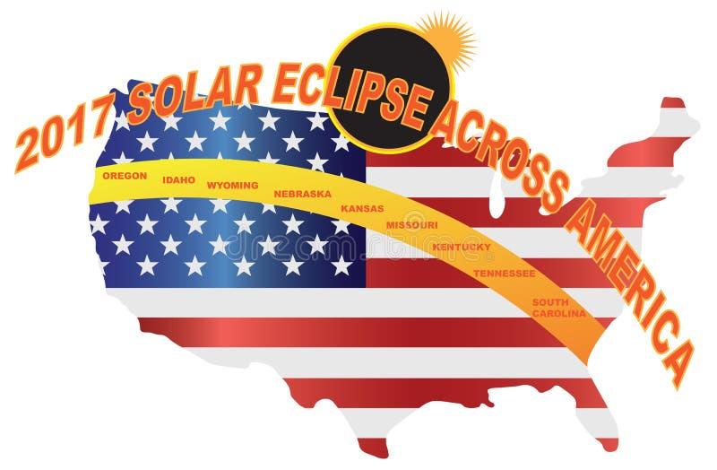Sammanlagd sol- förmörkelse 2017 över illustration för USA översiktsvektor vektor illustrationer