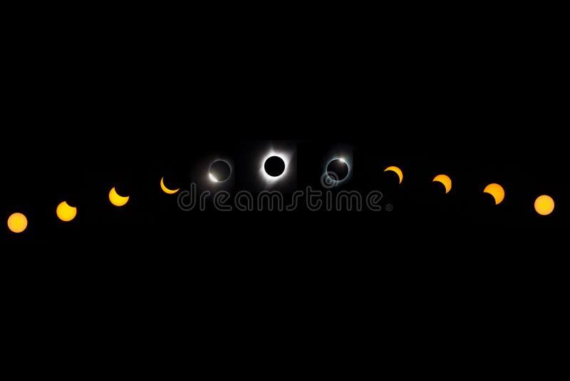 Sammanlagd sol- förmörkelse arkivbilder