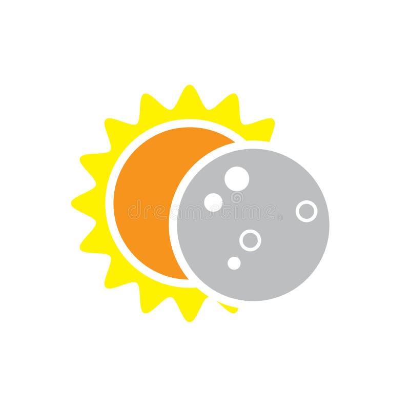 Sammanlagd symbol för sol- förmörkelse på Augusti 8, 2017 stock illustrationer