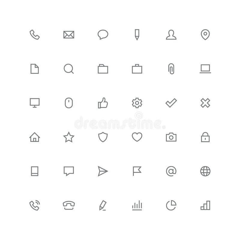 Sammanlagd symbolsuppsättning - internet och website royaltyfri illustrationer