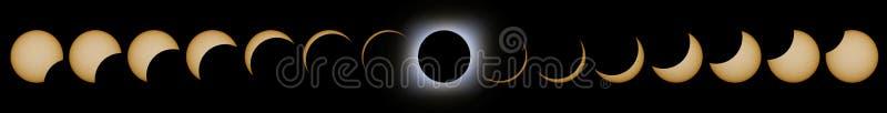 Sammanlagda faser för sol- förmörkelse Sammansatt sol- förmörkelse royaltyfri illustrationer