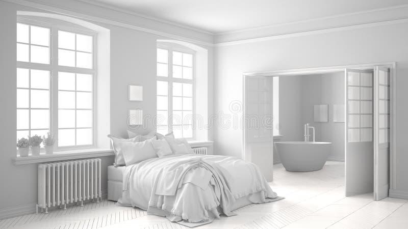 Sammanlagt vitt scandinavian sovrum med badrummet i bakgrunden royaltyfri illustrationer