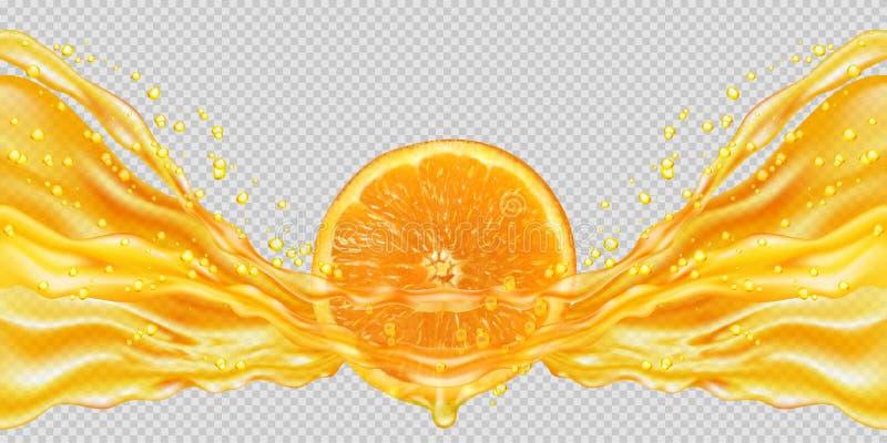 sammanpressad fruktsaftorange stock illustrationer